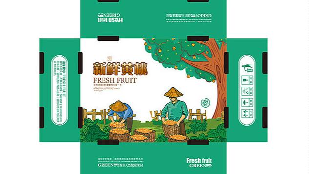 黄桃水果包装盒-展开图