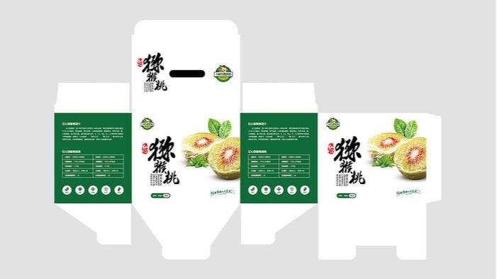 猕猴桃包装盒设计-展开图