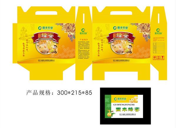 蜂蜜食品包装礼盒设计-展开图